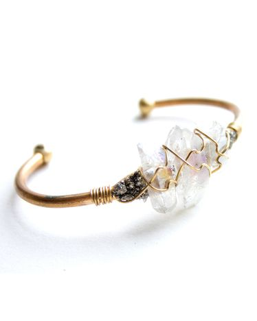 Opalescent Crystal Wire Cuff - JewelMint #streetstyle