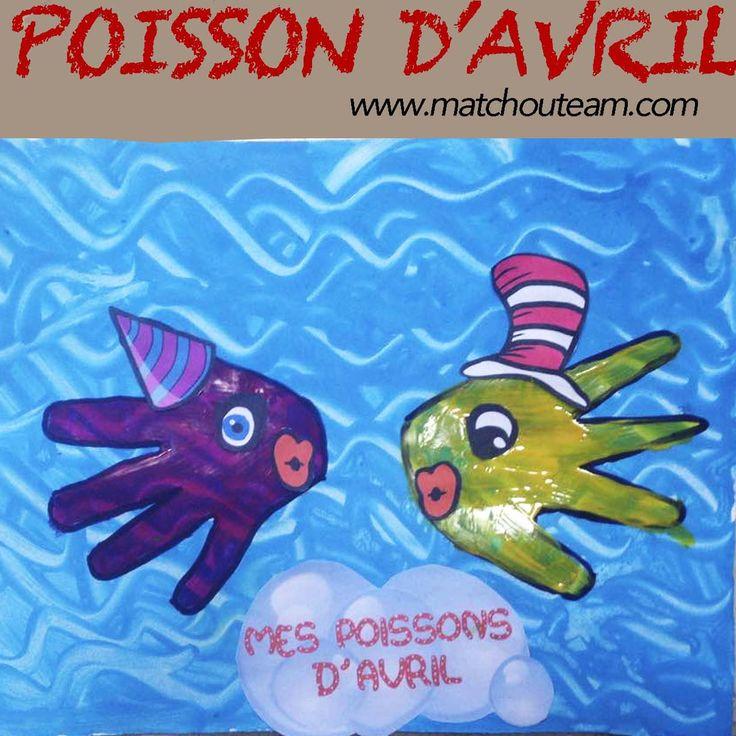 Tableau du 1er Avril | Customiser des empreintes de mains en poissons rigolos.