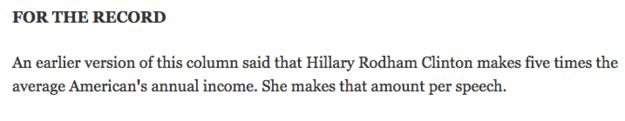 This Los Angeles Times correction about Hillary Clinton's income: | 17 Hilarious Media Corrections From 2015