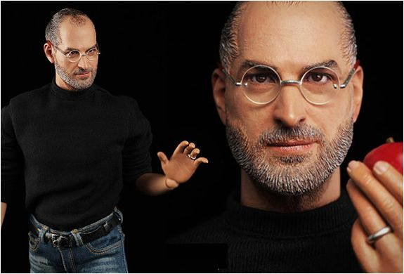 STEVE JOBS HYPER REALISTIC COLLECTIBLE FIGURE The hyper realistic collectible figure of the legendary Steve Jobs is set to start shipping worldwide on late Feb. 2012. The figure includes a realistic head sculpt, two pairs of glasses, a highly articulated body, three pairs of hands, a black turtleneck, one pair of blue jeans, and one pair of black socks and sneakers.Originals Toys, Job Hyper, Figures Include, Creepy Artworks, Hyper Realistic, Realistic Collection, Job Dolls, Steve Jobs, Collection Figures