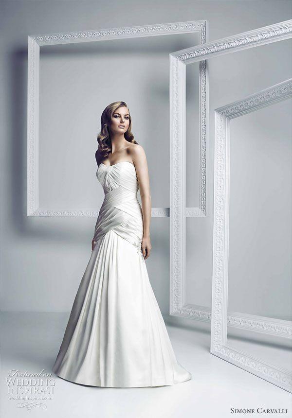 Simone Carvalli  bridal gown collection - strapless draped bodice wedding dress