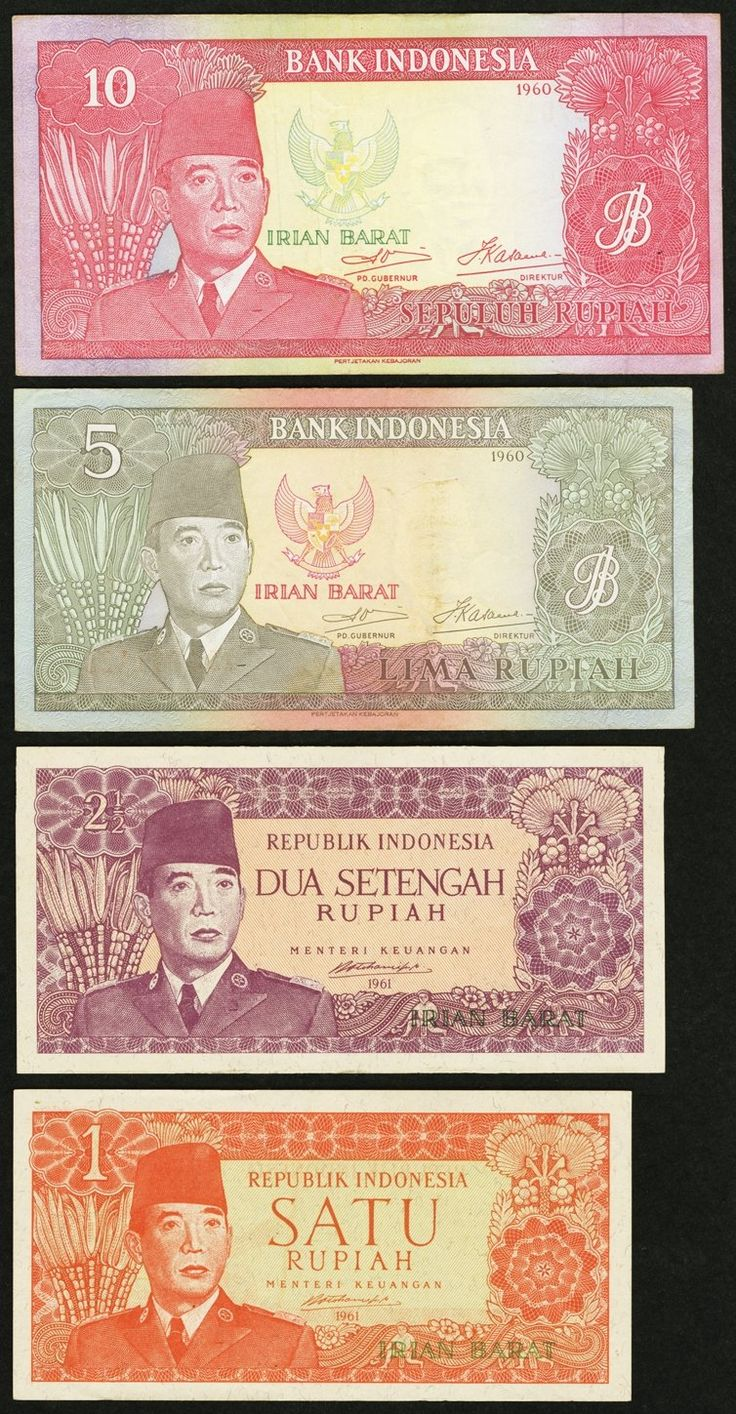 Indonesia Irian Barat 1; 2 1/2; 5; 10 Rupiah 1961 Pick R1; R2; R3; R4. These notes are technically referred to as the West Irian Rupiah. Due to political reasons stemming from colonial times, West New Guinea (now the West Papua Region in Indonesia), was not completely under the control of Indonesia. For about ten years, this paper money was used in the region and it was related to the Indonesian Rupiah in name only. This complete set grades Fine or better with the 1 Rupiah having a lo…