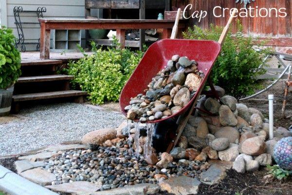 wheelbarrow water fountain