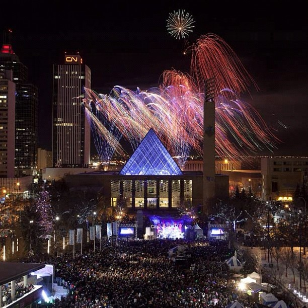 Fireworks light up the sky during New Year's Eve celebrations at Sir Winston Churchill Square in Edmonton, Alberta, Canada. Photo by Greg Southam/Edmonton Journal