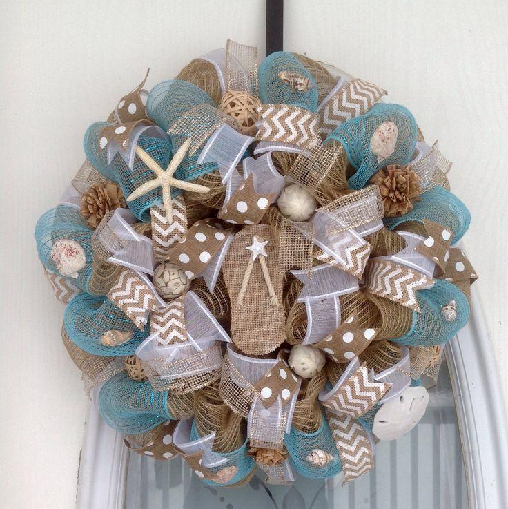 "20"" Tan Burlap and Aqua Deco Mesh Beach Themed Wreath with Burlap Flip Flop"