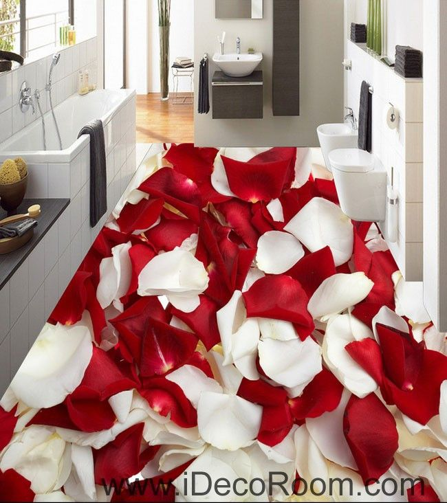 Red White Rose Petal 00085 Floor Decals 3D Wallpaper Wall Mural Stickers Print Art Bathroom