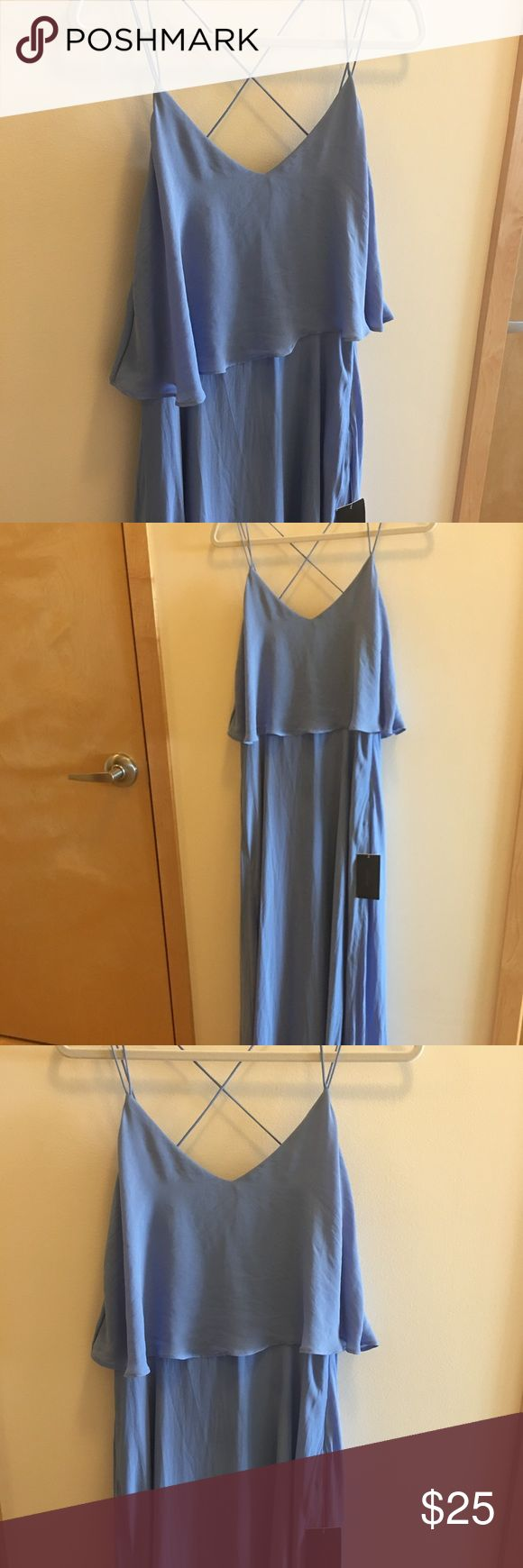 Zara Long Dress Light Blue Sz M UK Zara long Dress - Flutter Top with crisscross straps - Sz Medium UK - Zara UK sizing included. Please ask any questions before purchasing. All sales final. Zara Dresses