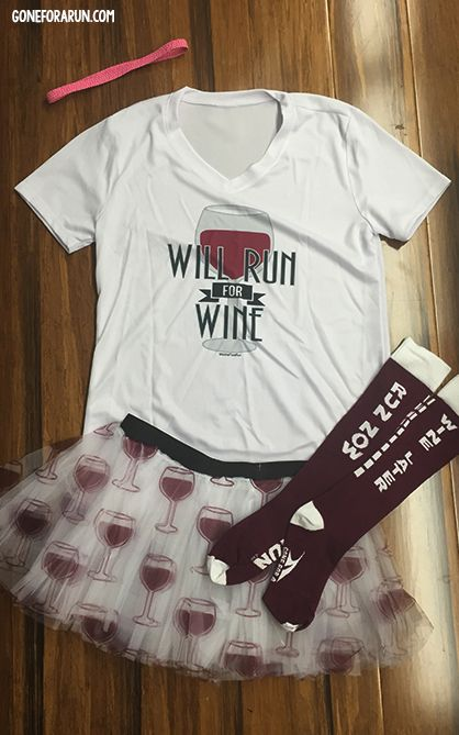 Will Run for Wine -- The perfect running outfit idea for runners who love their wine! Complete your look with a running tee, tutu, GripBand and knee high socks! goneforarun.com