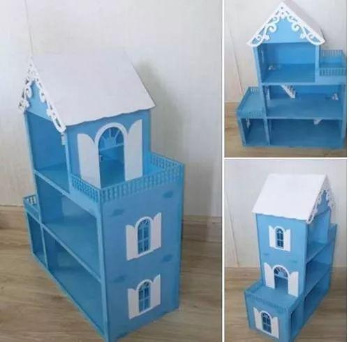 casa casinha de bonecas mdf grande  frozen c kit móveis