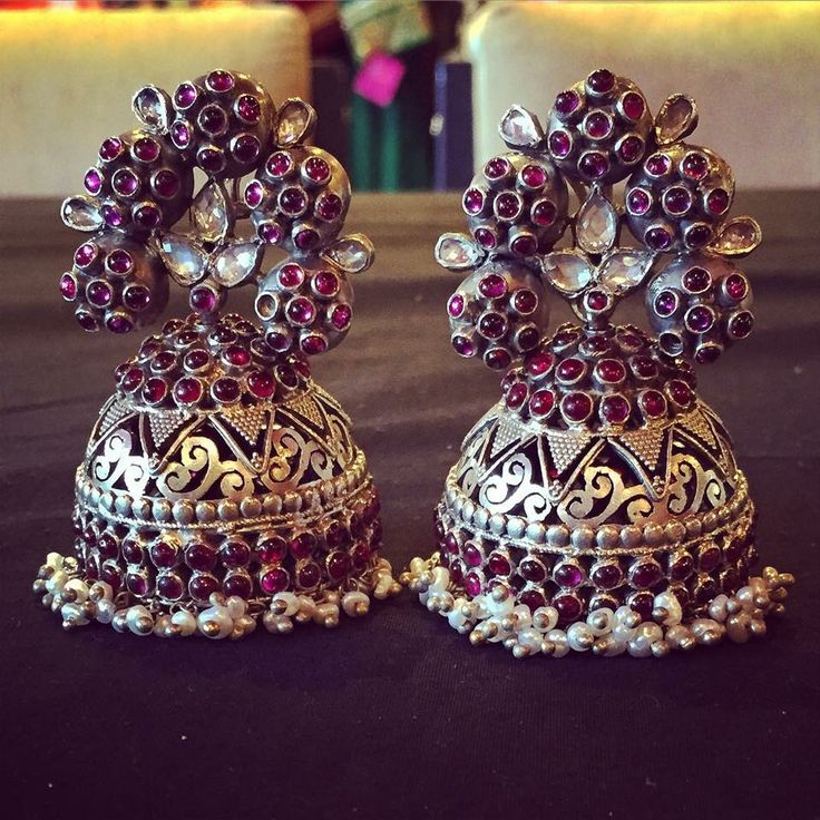 Sterling silver earrings with rubies
