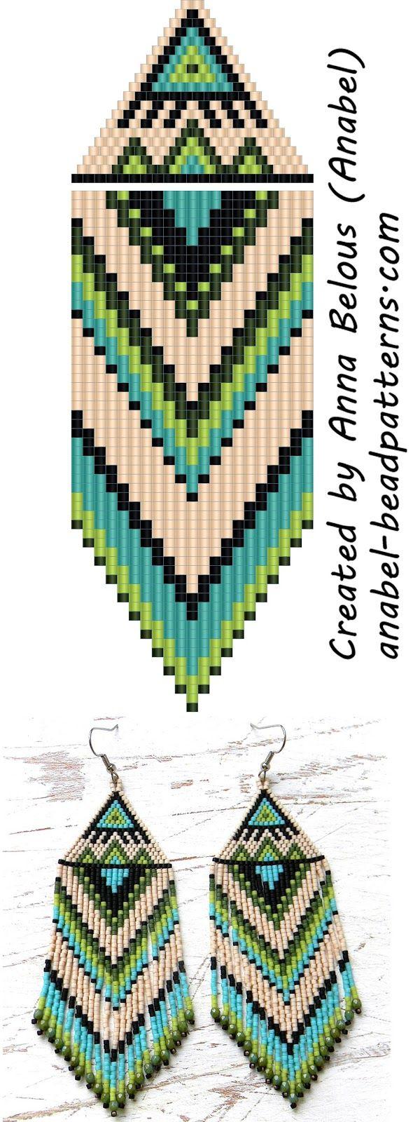 Схема серег из бисера - Beaded Earrings Pattern - Peyote / Brick Stitch (Схемы…