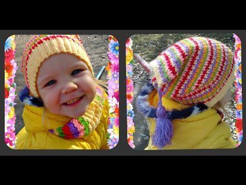 весенняя, детская шапка крючком, или как использовать остатки пряжи - YouTube