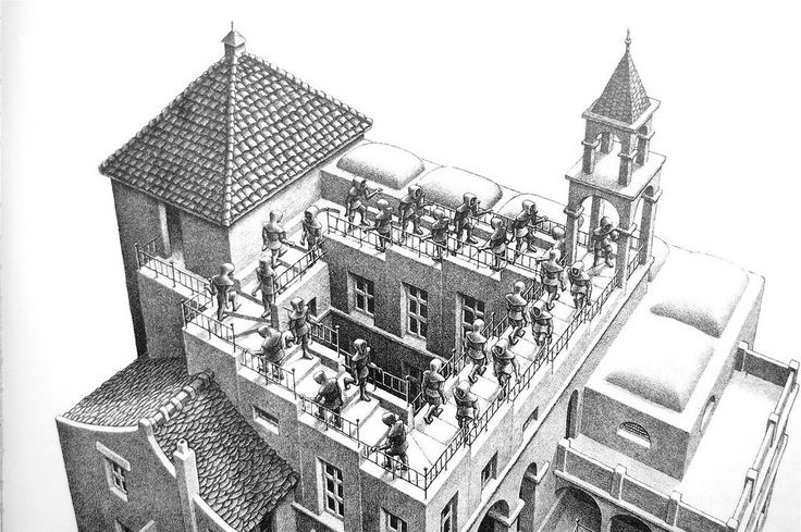 M. C. Escher. Lithograph of Stairs. 1881