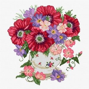 LJT086 Poppy Bouquet | Lesley Teare Needlework and Cross Stitch Chart Designs