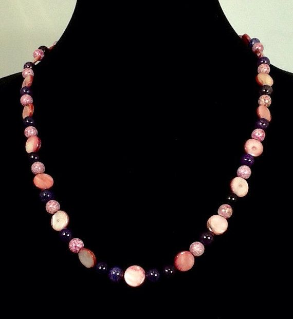 Unique 23 Inch Necklace. It Looks Pink in the Pictures But No Pink! Read All…