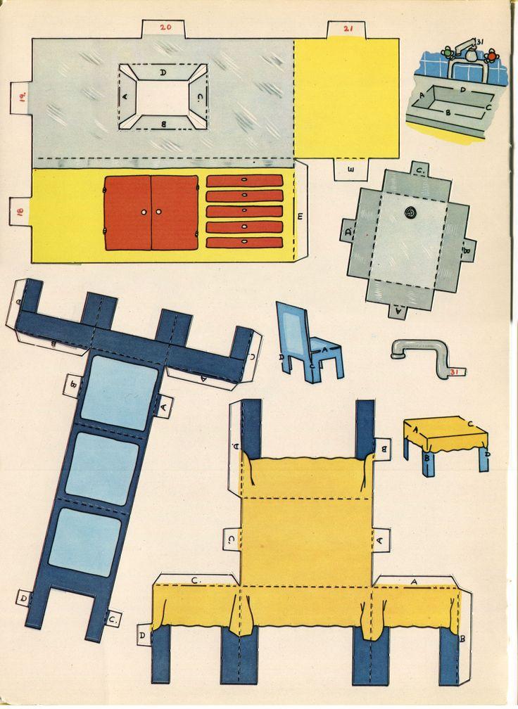111 mejores im genes sobre muebles para casa de mu ecas en - Muebles de papel ...