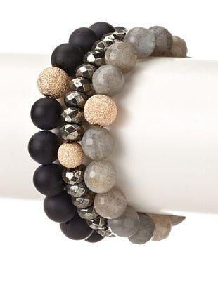 62% OFF Sisco + Berluti Black Onyx, Pyrite & Labradorite Bracelet Stack