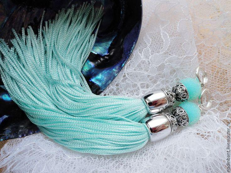 """Купить Серьги кисточки """"Fairytale Mint"""" - бирюзовый, серьги кисточки, сережки, сережки кисти"""