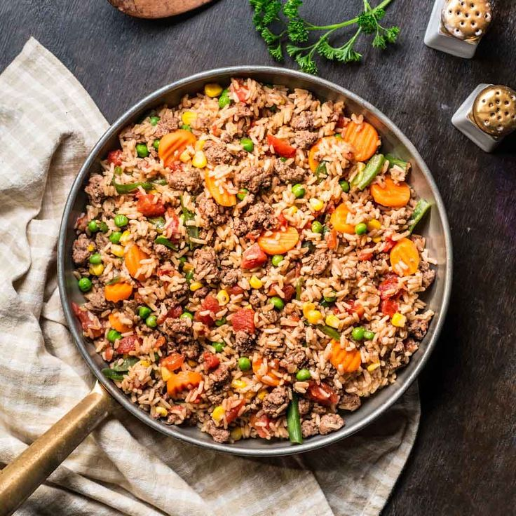 Meal Ideas For Ground Beef: Beefy Rice Skillet