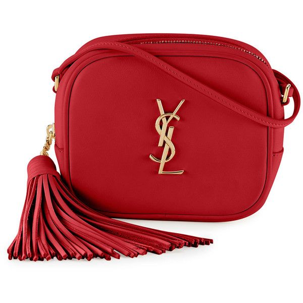 Saint Laurent Monogram Blogger Crossbody Bag ($1,060) ❤ liked on Polyvore featuring bags, handbags, shoulder bags, red, crossbody handbag, shoulder strap purses, red shoulder bag, monogrammed crossbody and crossbody purse