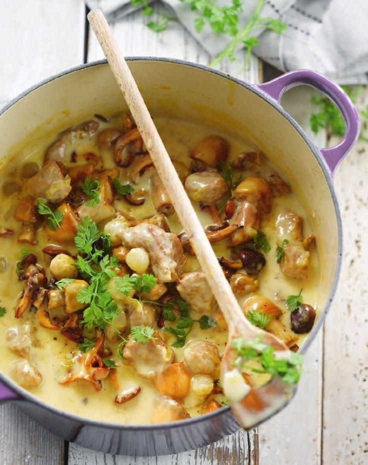 Bereiden: Meng het kalfsgehakt met 1 losgeklopt ei, twee eetlepels paneermeel en gehakte peterselie. Maak er gehaktballetjes van ter grootte van een pingpongballetje. Bak het stoofvlees en de gehaktballetjes in een ruime stoofpot rondom bruin. Voeg daarna het gesneden sjalotje, prei, selder, zilveruitjes, bouquet garni en kruidnagels, in een theebuiltje, toe. Laat 5 minuten stoven, roer af en toe om. Voeg de kalfsbouillon toe en giet er water bij tot het geheel onder staat. Breng langzaam…
