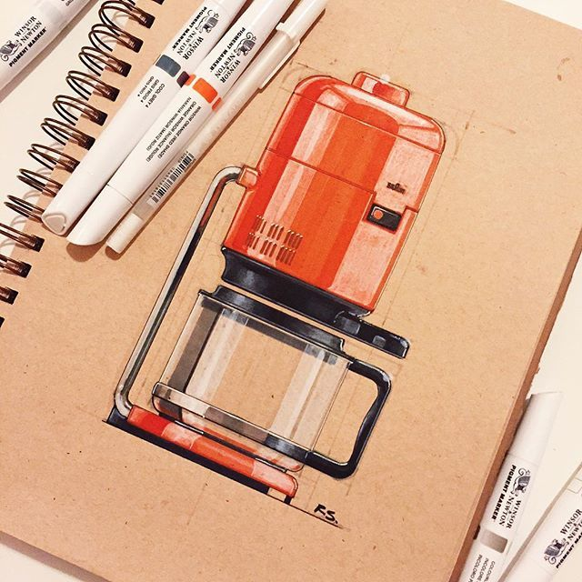 Reid Schlegel - I tried out some new Winsor & Newton markers for this Dieter Rams classic. Check them out @winsorandnewton Munich bound for the next few weeks, expect more German inspired sketches. #dieterrams #germany #classic #coffeemaker #ID #industrialdesign #productdesign #design #drawing #sketch #sketchbook #sketchaday #sketching #art #instaart @winsorandnewton @pigmentmarker