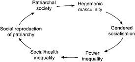 How the cyclical pattern of how hegemonic masculinity is produced, reproduced and perpetuated