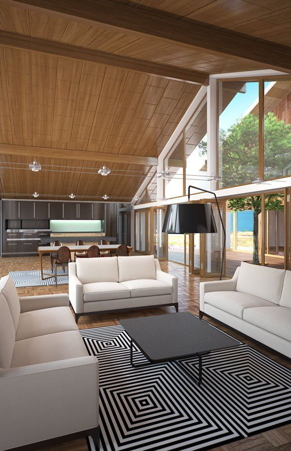 Modern interior design with high & vaulted ceiling.