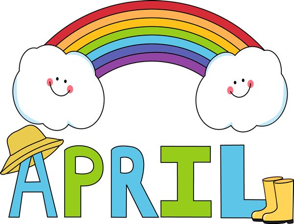 Free Month Clip Art | Month of April Rainbow Clip Art Image - the word April in blue and ...