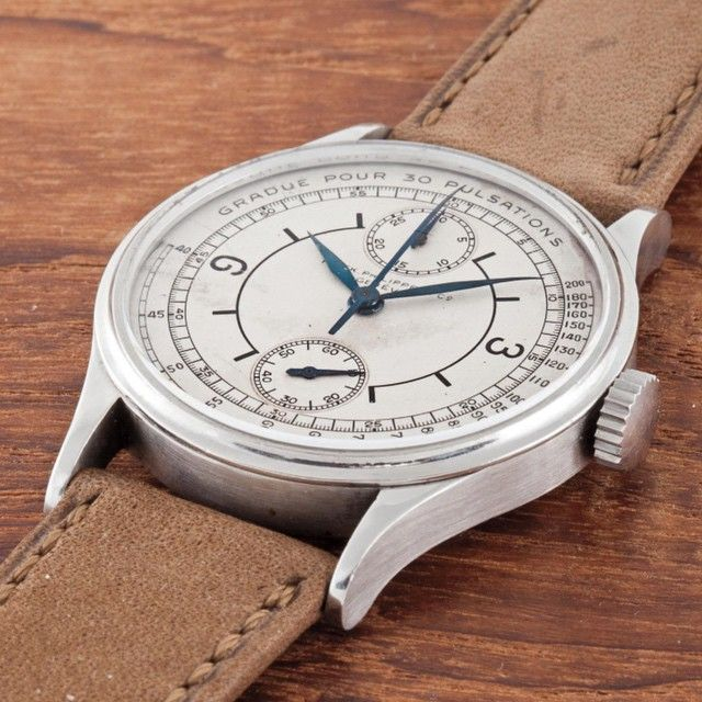 The centrepiece and most talked about watch that broke the $5 million dollar mark at the Phillips Auction. The Patek Philippe 130 circa 1927 that features the ultra-rare single pusher chronograph function from Patek with a beautiful 13 ébauche from Victorin Piguet of Le Sentier. What makes it so unique and so rare is that all but 2 pieces were cased in gold with only 2 finished in stainless steel. One at the Patek Philippe museum and this being the only one owned by a private collector. I…