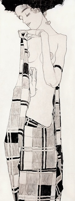 figure drawing with line, Egon Schiele, Standing Girl in Plaid Dress, 1908-09