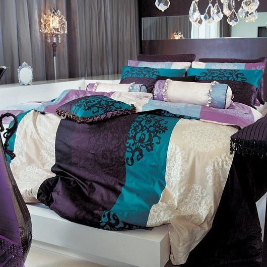 Turquoise & Purple Damask Duvet Cover Set