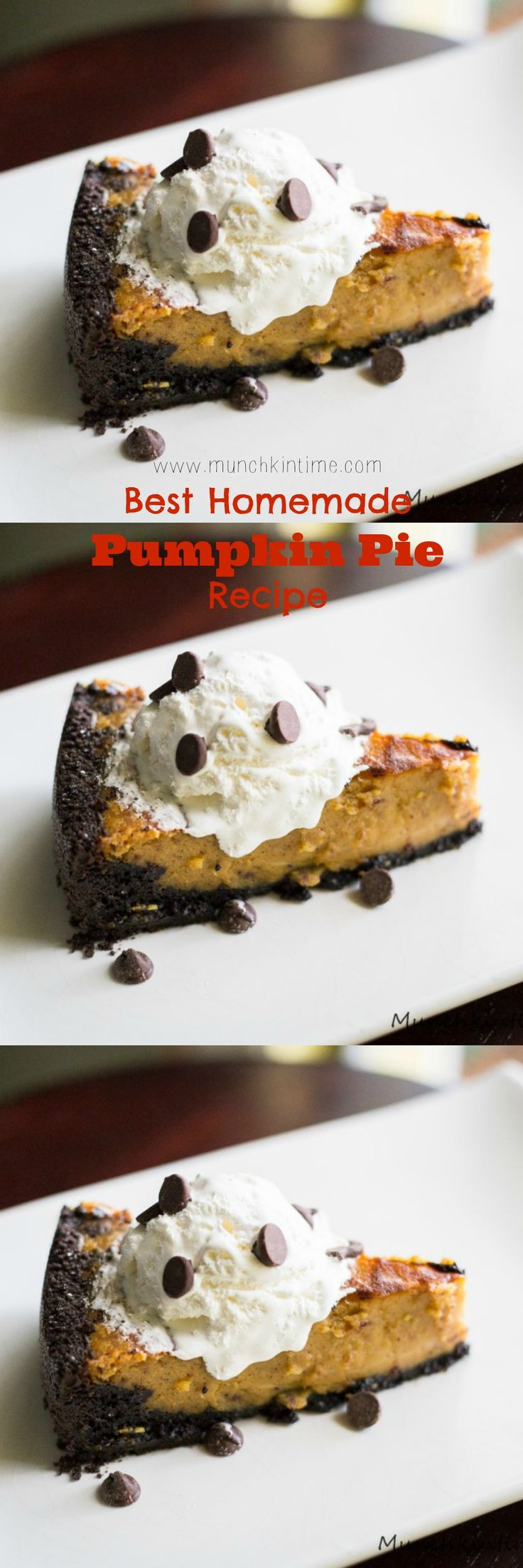 Best Homemade Pumpkin Pie Recipe Ever - Made of Oreo crust, fresh sugar pumpkin puree and topped with vanilla ice cream it will be the best pumpkin pie recipe you will ever tried.