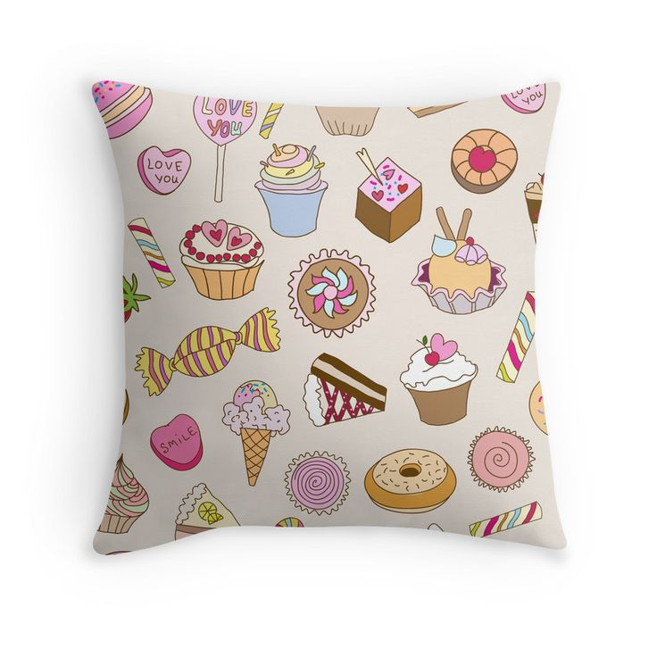 """""""Seamless pattern with sweets"""" Throw Pillows by smotrivnebo   Redbubble"""