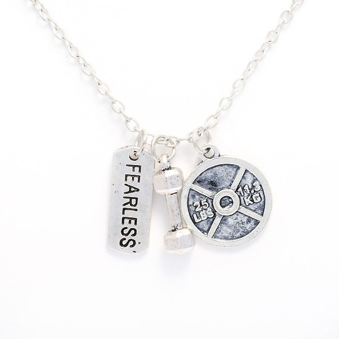 Fearless Dumbbell Weight Plate Crossfit Gym Fitness Necklace