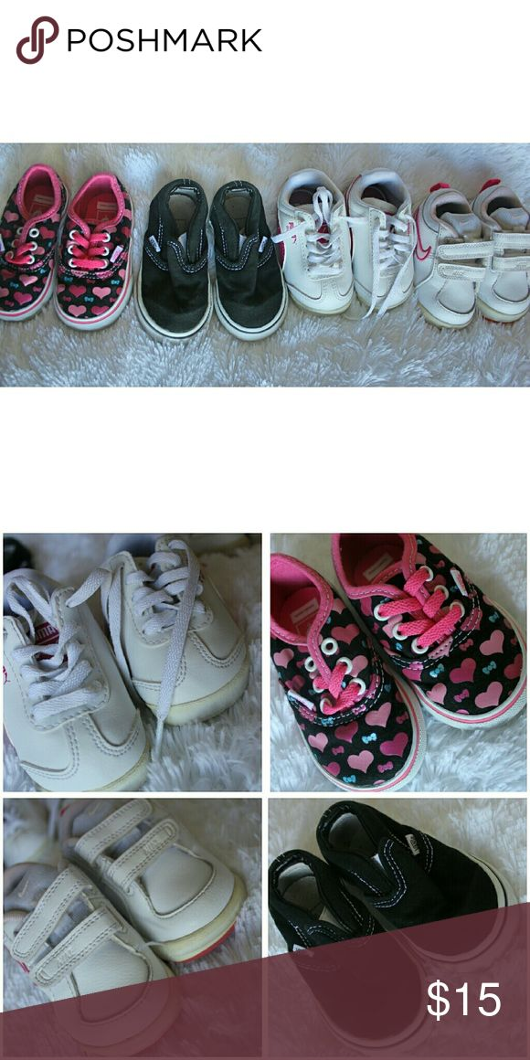 Baby girls shoe bundle Puma size 4 Black Vans size 5 Heart print Vans size 4 Nike size 5 Perfect for the baby that's just starting to walk. In great condition. Nike & Puma sole are a bit yellow. Shoes