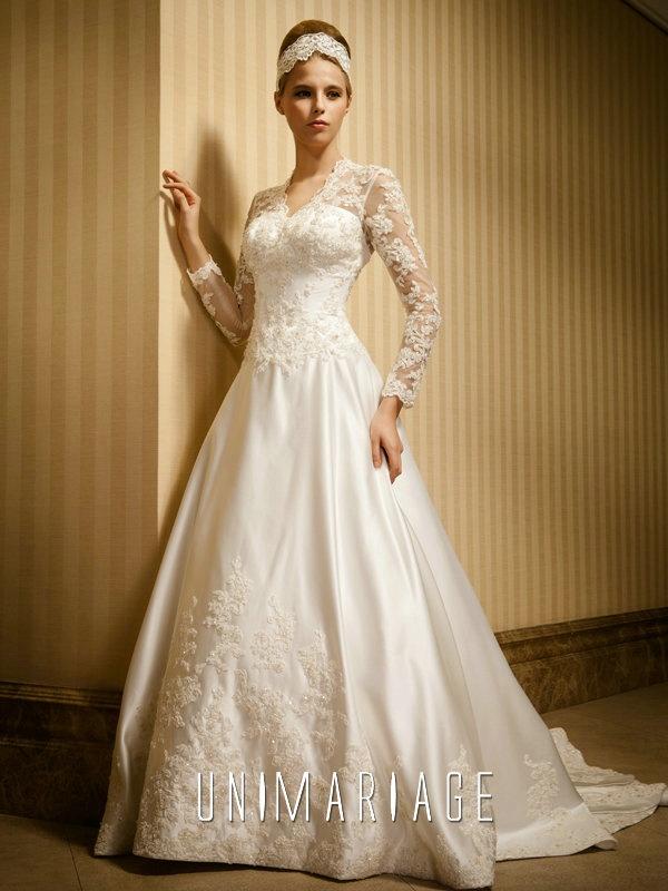 Romantique Robe de Mariage Appliques Manches Longues Satin UNI0423