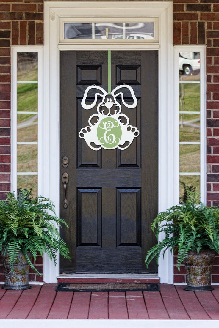 Easter Monogram Door Hanger, Front door Wreath, Easter Bunny Door Wreath, door monogram, initial wreath front door, gift by HouseSensationsArt on Etsy https://www.etsy.com/listing/261805906/easter-monogram-door-hanger-front-door