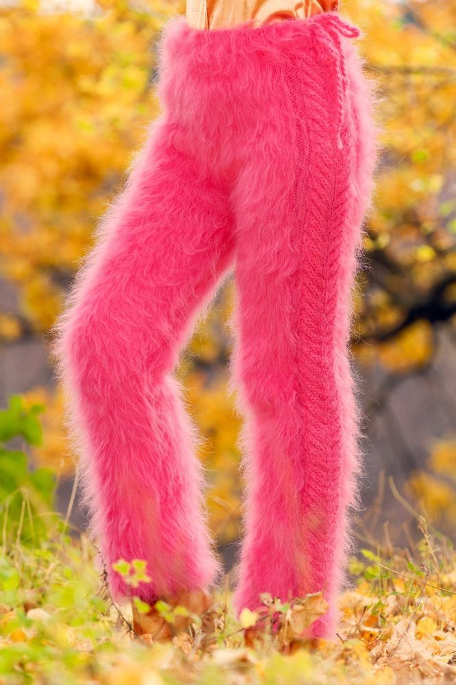 Hand knitted mohair pants fuzzy trousers SUPERTANYA pink leg warmers ON SALE #SuperTanya #Casual
