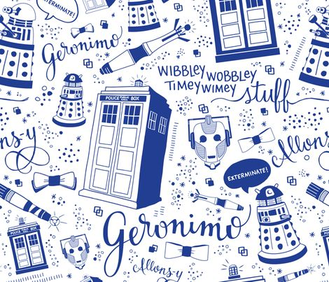 Doctor Who Full-Size Blue fabric by cherilyncolbert on Spoonflower - custom fabric