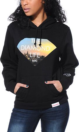 Diamond Supply Co. Women's Diamond Life NYC Black Pullover Hoodie - InStores