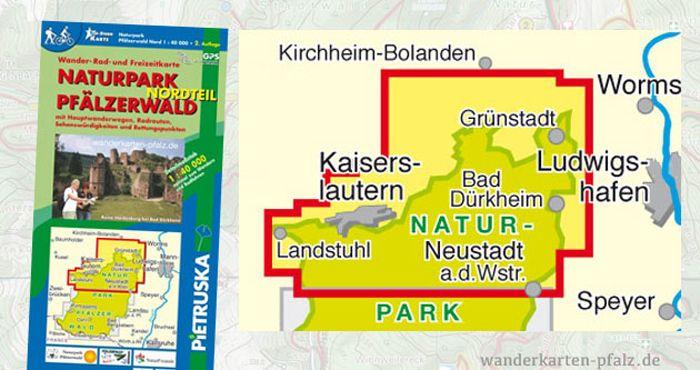 Wandern im Pfälzerwald Nord - Wanderkarte und Radkarte