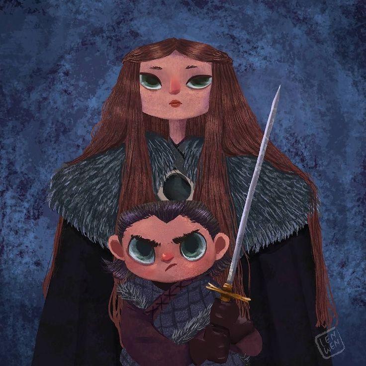 regram @lunartcy Stark girls doodle  #stark #got #gameofthrones #doodle