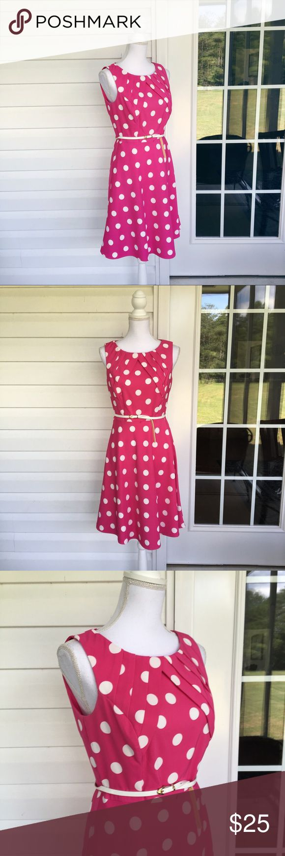 Dress Barn Collection Pink & White Polka Dot Dress With a flared skirt, this polkadot dress is ideal to wear on your next night out. Made from a poly/spandex blend, this dress is a lovely piece. In good condition. Approximate measurments lying flat:  18' bust, 38.5' length 30319 Dress Barn Dresses Midi