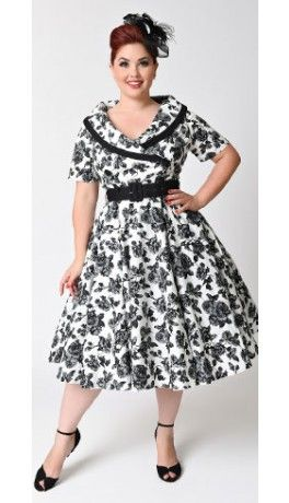 Hell Bunny Plus Size 1950s Style Black & White Floral Button Up Honor Swing…
