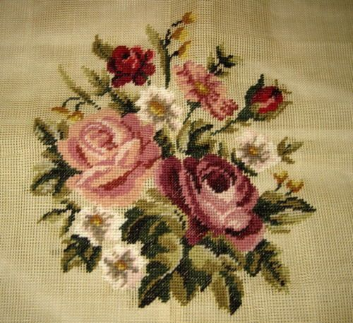 Four Wives PREWORKED Needlepoint Canvas *PINK & RED ROSES* Pillow/Seat Cover