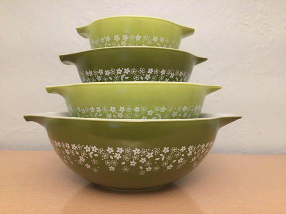 "1970s vintage Pyrex ""Spring Blossom"" avocado green & white Crazy Daisy Cinderella bowl set 441, 442, 443 & 444 from HobAndNail on Etsy."