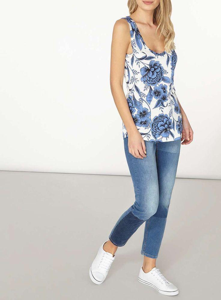 Womens Blue Floral Print Vest- Blue