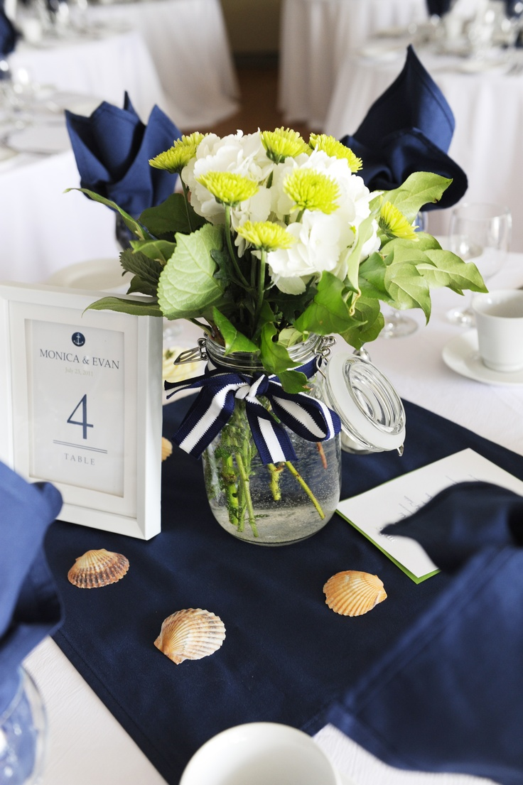 Mason jar centerpieces for a nautical wedding theme ...