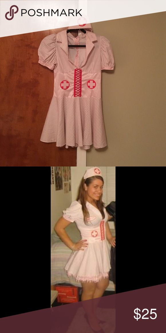 Pink Naughty Nurse Halloween Costume Pink/red/white Nurse Halloween costume; worn once; in picture 2 there is an underskirt (purchased separately); therefore, this costume includes the dress and hat. Great costume!! Other